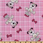 Comfy Flannel Dog Plaid Pink