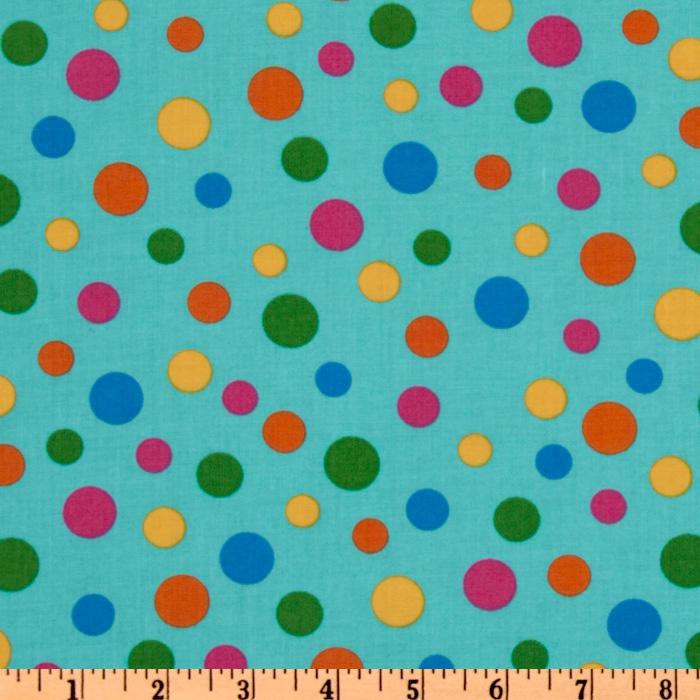 Crazy for Dots &amp; Stripes Tossed Dots Aqua/Multi