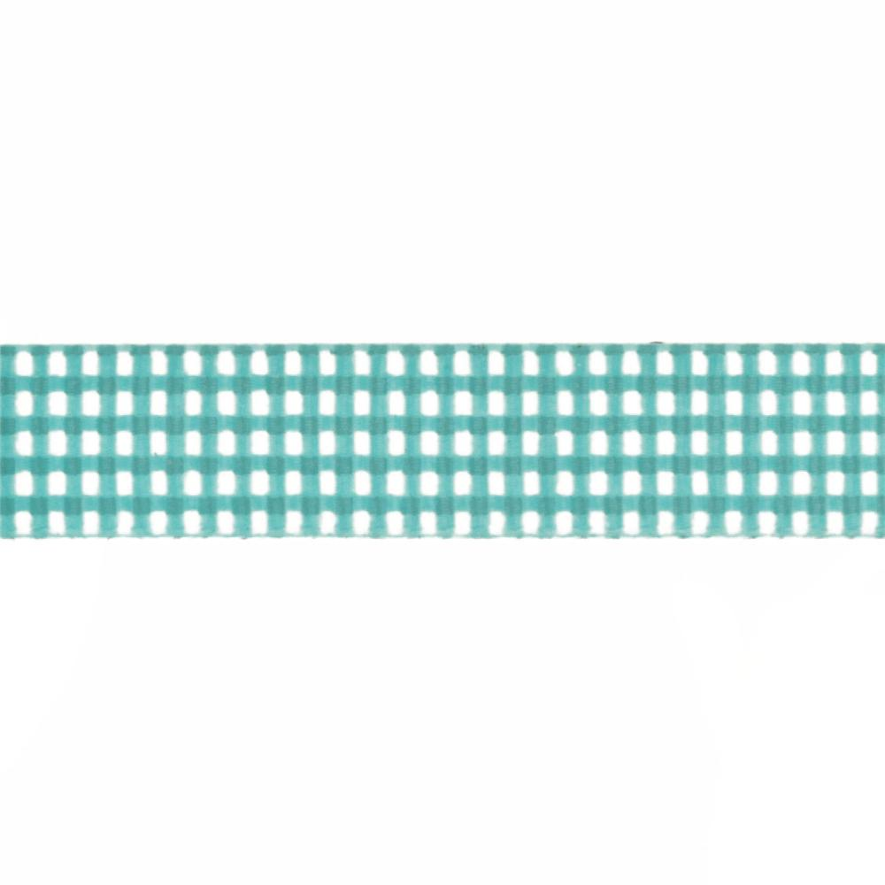 Riley Blake 5/8'' Grosgrain Ribbon Gingham Teal