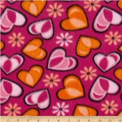 Fleece Hearts Pink/Orange