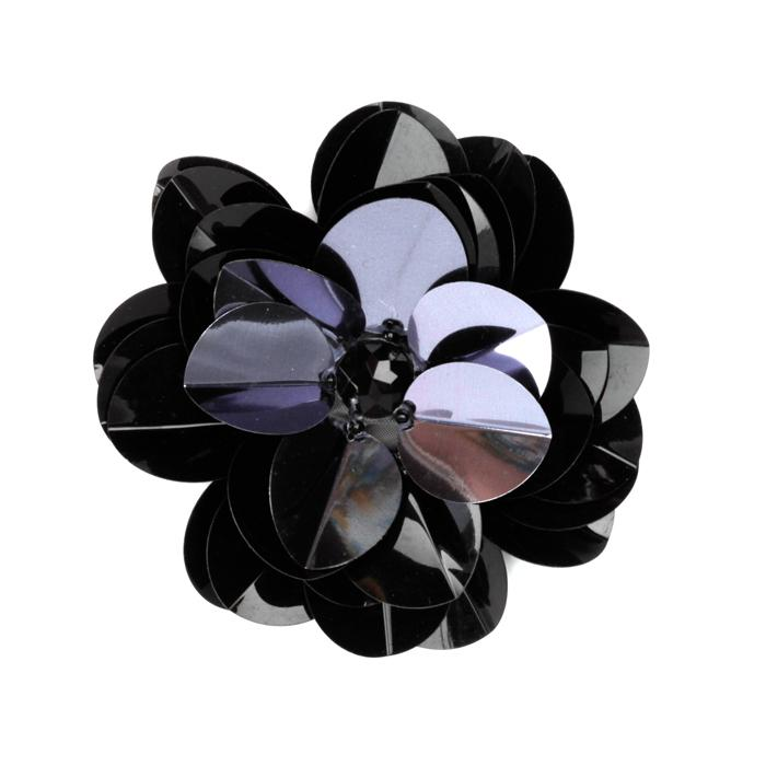 Vinyl Triple Layer Sequin Flower Applique Gunmetal