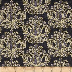 Autumn Treasures Damask Metallic Black