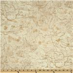 FG-727 Timeless Treasures Cabin Fever Flannel Map Cream