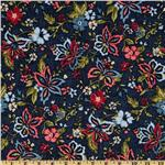 Heritage Flannel Large Flower Navy