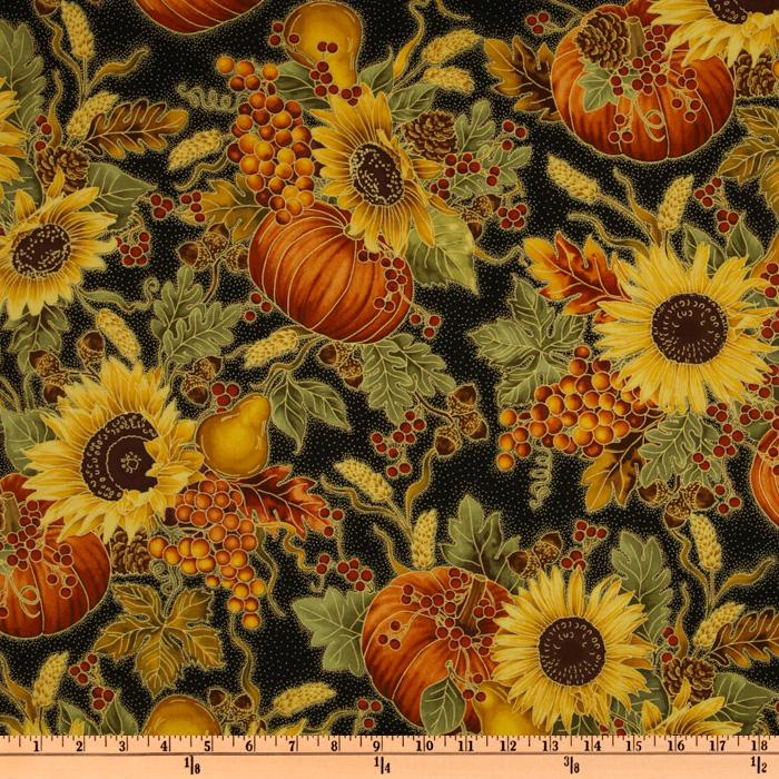 Timeless Treasures Autumn Harvest Floral Black