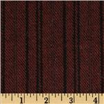 Wool Blend Coating Line Stripes Burgundy/Black