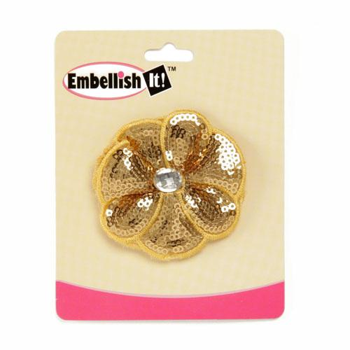 Jeweled Posey Sequin Brooch 2-1/2&#39;&#39; Gold