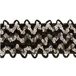 NR-3174 2 3/4&quot; Stretch Sequin Ric Rac Ribbon Trim Grey/Black