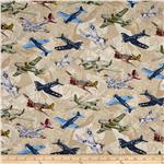0283391 Man Cave II WWII Planes Cream
