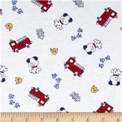 Cotton Jersey Knit Firetruck White