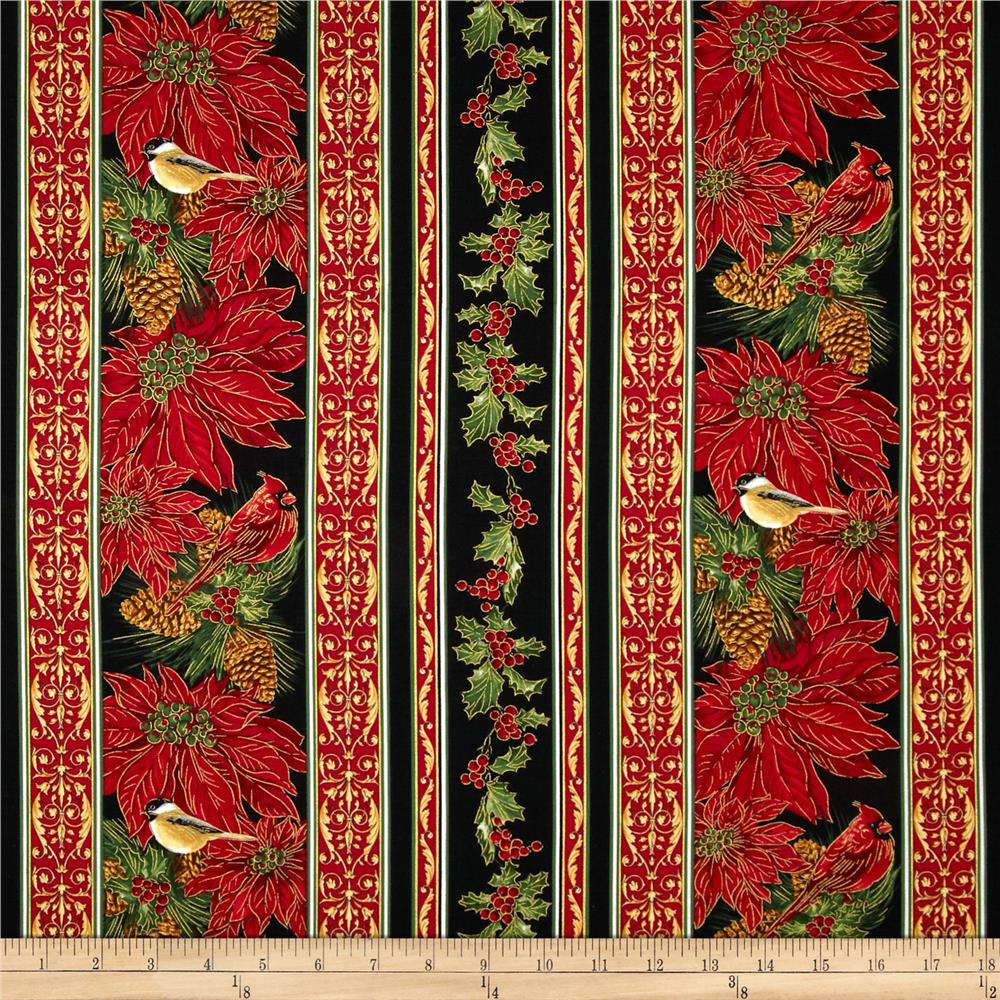 Timeless Treasures Home For the Holidays Poinsettias Border Stripe Black