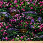 0301791 Timeless Treasures Garden Scenic Green
