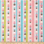 Stitched Garden Button Stripe Pink
