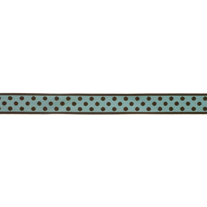 5/8'' Ribbon Polka Dot Aqua/Brown