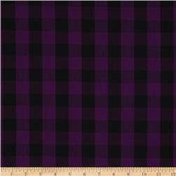 Stretch Yarn Dyed Shirting Medium Check Purple/Black