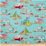 0281981 Moda Glamping Laminated Cotton Tents &amp; Trailers Blue Moon