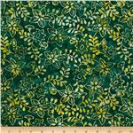 Batavian Batiks Leaves & Flowers Dark Green