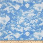FH-153 Timeless Treasures Planes, Trains &amp; Automobiles Clouds Blue