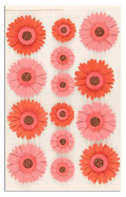 Martha Stewart Crafts 3 Dimensional Stickers Gerbera Daisies Pink