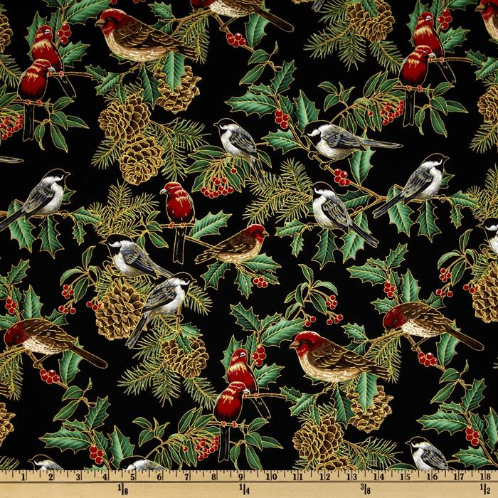 Holiday Serenade Metallic Pines and Chickadees Black Gold