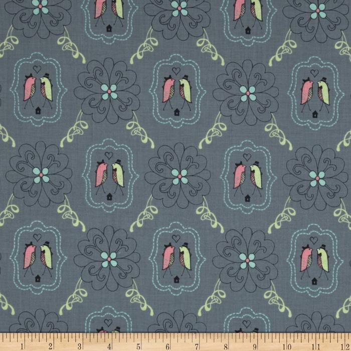 Feather N Stitch Lovebirds Grey