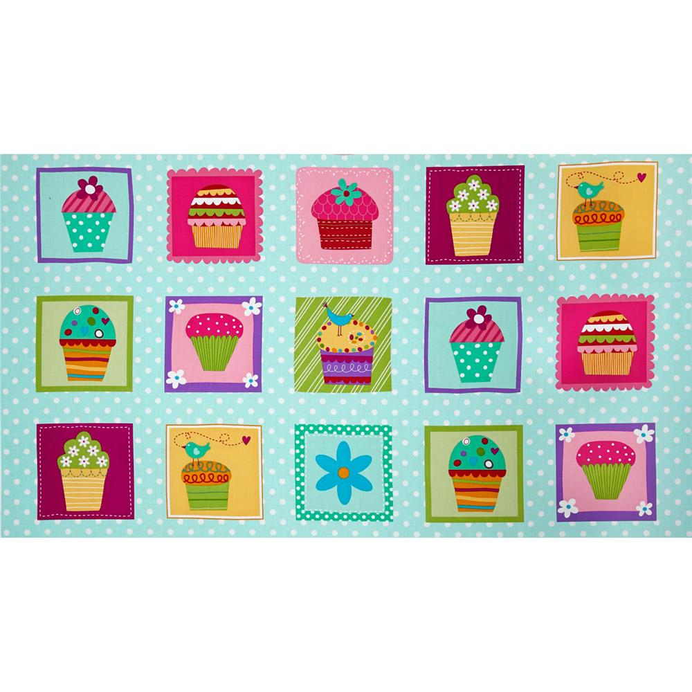 Sprinkles Please Panel Cupcake Blocks Aqua