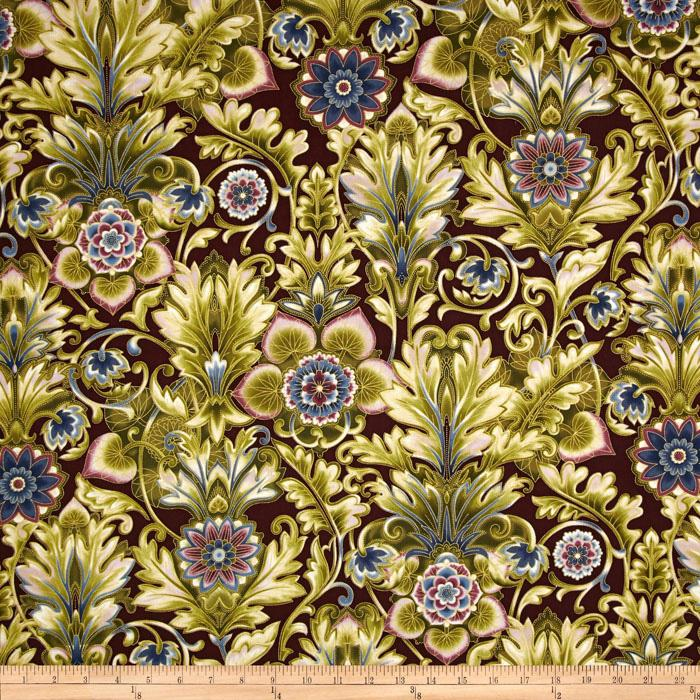 Esmeralda Metallic Floral Damask Dawn Beige