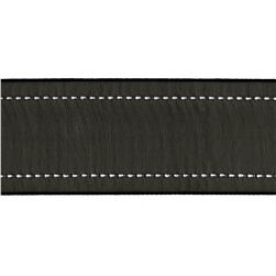 "1 1/2"" Sheer Stitched Edge Ribbon Black"