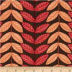 Moda Family Tree Leaf Stripe Brown/Red
