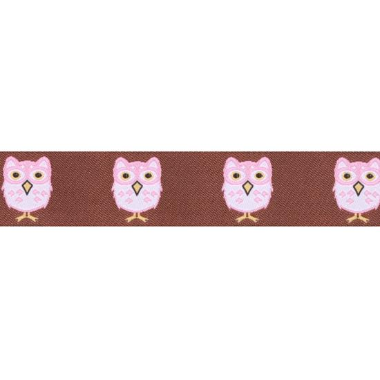 7/8'' Ribbon Owls Pink/Brown