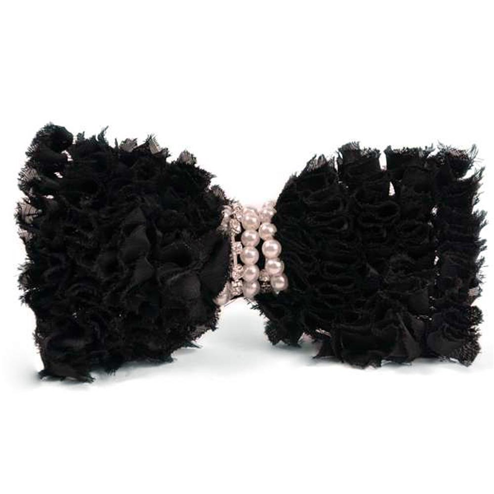 "5-1/2"" X 3-1/2"" Barbara Ruffled Brooch Hair Clip Black"