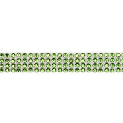 Hot Fix Flatback Rhinestone Trim Peridot/Silver Band