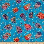 237466 Laurel Burch Fabulous Felines Sitting Cats &amp; Butterflies Aqua Metallic