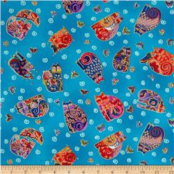 Laurel Burch Fabulous Felines Sitting Cats & Butterflies Aqua Metallic