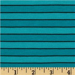 Yarn Dyed Baby Rib Knit Stripe Aqua/Black