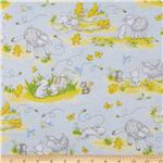 Buttercup Babies Flannel Tossed Baby Animals Blue