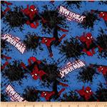 230858 Spiderman Flannel Splatter Web Blue/Red