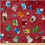 Paper Dolls School House Clothes Red