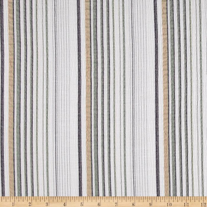 Cotton Blend Shirting Pucker Stripes White/Sage
