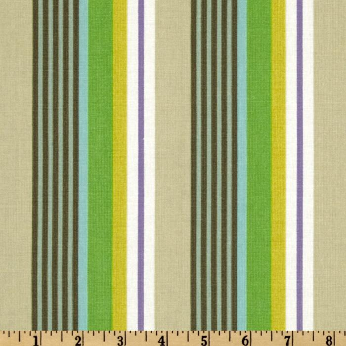 Kokka Trefle Prints Charming Cotton Canvas Stripe Lime