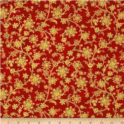 Choir Of Angels Winter Metallic Scroll Red
