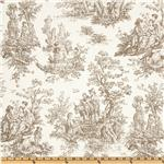 Premier Prints Colonial Toile Slub White/Taupe