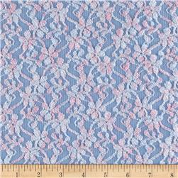 Novelty Stretch Lace Floral Pink/Blue
