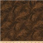 Bali Batiks Peacock Feathers Brown