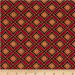 Christmas Carols Metallics Floral Grid Red
