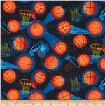 0283437 Timeless Treasures Sports Basketballs Black
