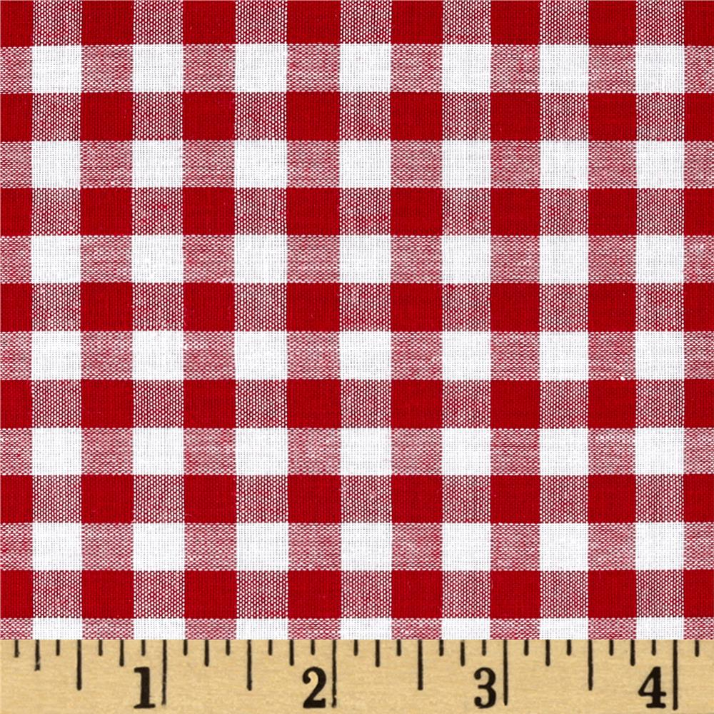 Woven 1/4 Gingham Red