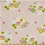 0277512 Comfy Flannel Owls on Branch Pink/Multi