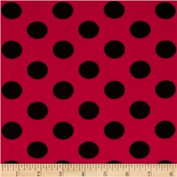 Stretch ITY Jersey Knit Polka Dots Red/Black