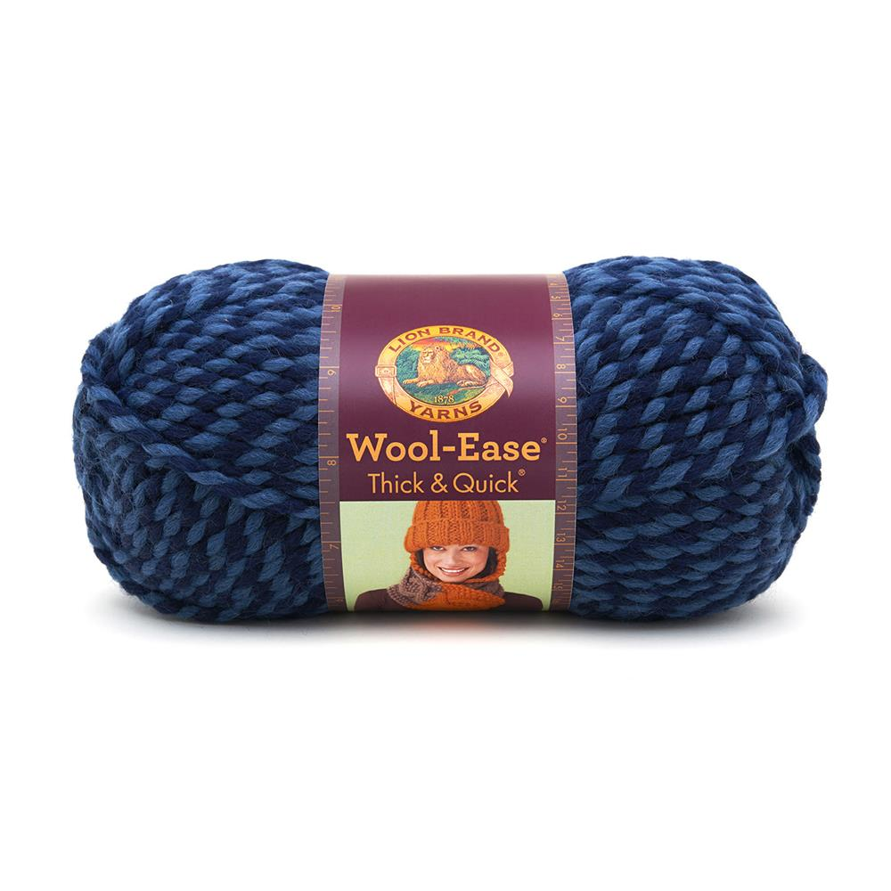 Lion Brand Wool-Ease Thick &amp; Quick Yarn (194) Denim Twist